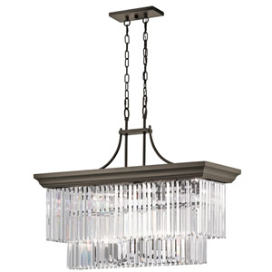 Emile Olde Bronze Twelve-Light Linear Chandelier Pendant