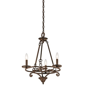 Caldella Aged Bronze Three-Light Mini Chandelier