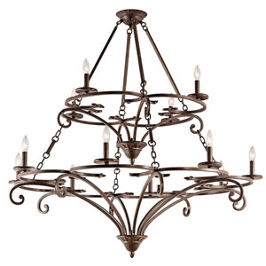 Caldella Aged Bronze Twelve-Light Chandelier