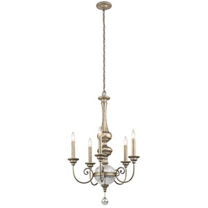 Rosalie Sterling Gold Five-Light Chandelier