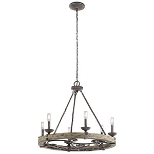 Taulbee Weathered Zinc 28.5-Inch Six-Light Chandelier