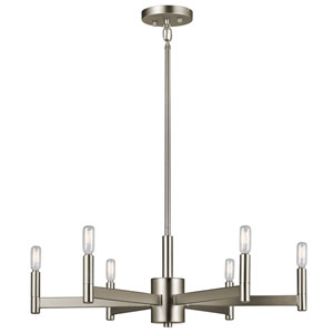 Erzo Satin Nickel Six-Light Chandelier