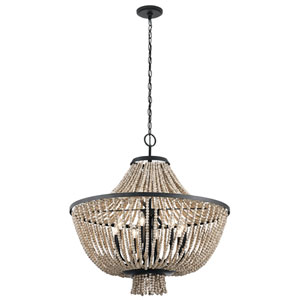 Brisbane Distressed Black 30-Inch Eight-Light Chandelier