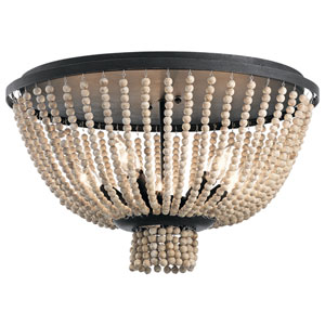 Brisbane Distressed Black 18-Inch Five-Light Flush Mount