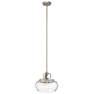 Davenport Antique Pewter 12-Inch One-Light Pendant and Semi-Flush Mount