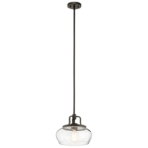 Davenport Olde Bronze 12-Inch One-Light Pendant and Semi-Flush Mount