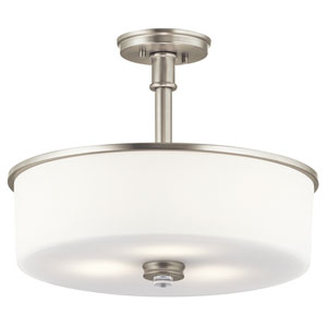 Joelson Brushed Nickel 18-Inch Three-Light Semi Flushmount