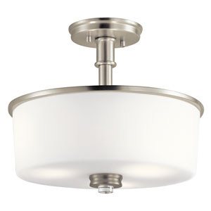 Joelson Brushed Nickel 14-Inch Three-Light Semi Flushmount