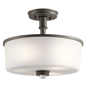 Joelson Olde Bronze 14-Inch Three-Light Semi Flushmount