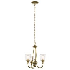 Waverly Natural Brass 22-Inch Three-Light Chandelier