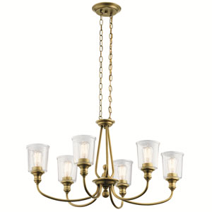 Waverly Natural Brass 20-Inch Six-Light Chandelier