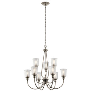 Waverly Classic Pewter 32-Inch Nine-Light Two Tier Chandelier