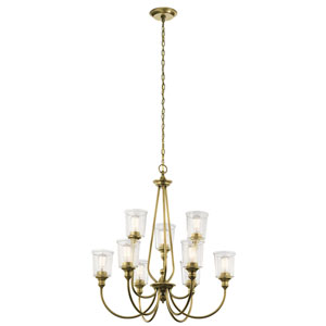 Waverly Natural Brass 32-Inch Nine-Light Two Tier Chandelier