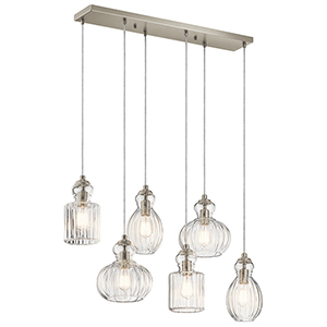 Riviera Brushed Nickel 12-Inch Six-Light Linear Pendant