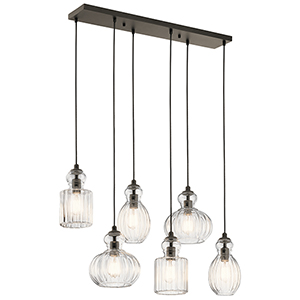 Riviera Olde Bronze 12-Inch Six-Light Linear Pendant