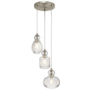 Riviera Brushed Nickel 18-Inch Three-Light Pendant