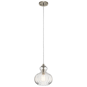 Riviera Brushed Nickel 9-Inch One-Light Mini Pendant