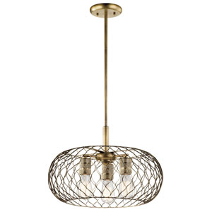 Devin Natural Brass 18-Inch Three-Light Pendant