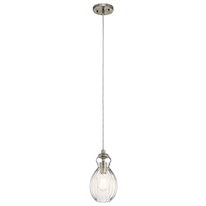 Riviera Brushed Nickel 6-Inch One-Light Mini Pendant