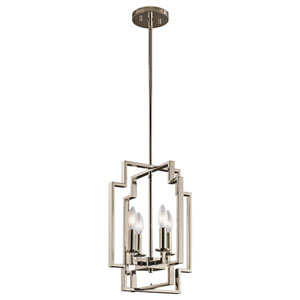 Downtown Deco Polished Nickel 12-Inch Four-Light Foyer Pendant