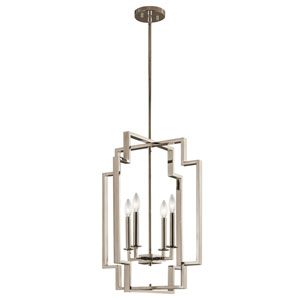 Downtown Deco Polished Nickel 18-Inch Four-Light Large Foyer Pendant