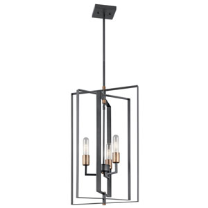 Taubert Black 15-Inch Three-Light Foyer Pendant