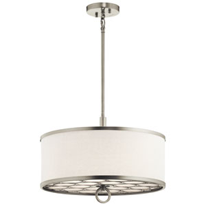 Melrose Brushed Nickel 18-Inch Three-Light Pendant with White Fabric Shade
