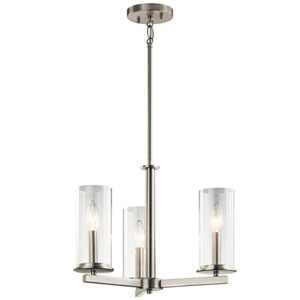 Crosby Brushed Nickel 18-Inch Three-Light Chandelier