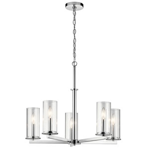 Crosby Chrome 26-Inch Five-Light Chandelier