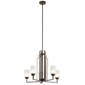 Harvey Mission Bronze Five-Light Chandelier