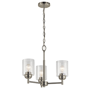 Winslow Brushed Nickel 18-Inch Three-Light Mini Chandelier