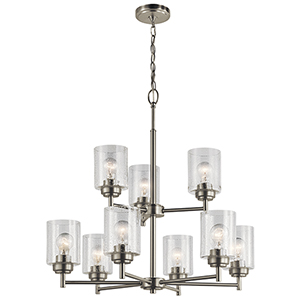 Winslow Brushed Nickel 27-Inch Nine-Light Two-Tier Chandelier