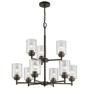 Winslow Olde Bronze 27-Inch Nine-Light Two-Tier Chandelier