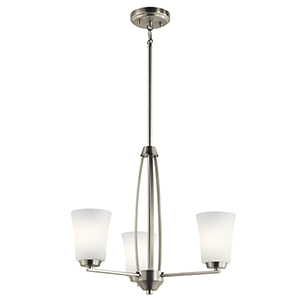 Tao Brushed Nickel 22-Inch Three-Light Chandelier