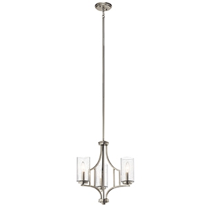 Vara Brushed Nickel 18-Inch Three-Light Mini Chandelier