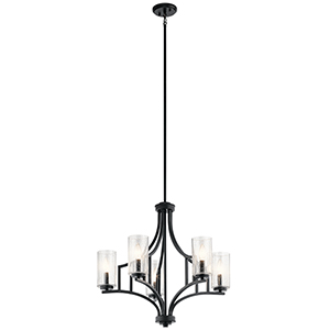 Vara Distressed Black 25-Inch Five-Light Chandelier