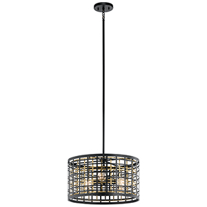 Aldergate Black 18-Inch Three-Light Pendant and Semi-Flush Mount