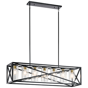 Moorgate Black 12-Inch Seven-Light Linear Pendant
