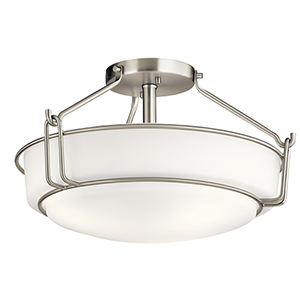 Alkire Brushed Nickel 17-Inch Three-Light Semi-Flush Mount
