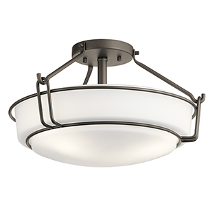 Alkire Olde Bronze 17-Inch Three-Light Semi-Flush Mount