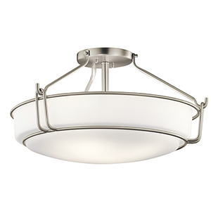 Alkire Brushed Nickel 22-Inch Four-Light Semi-Flush Mount