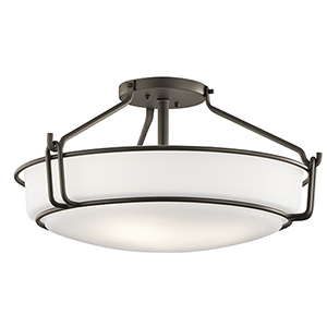 Alkire Olde Bronze 22-Inch Four-Light Semi-Flush Mount