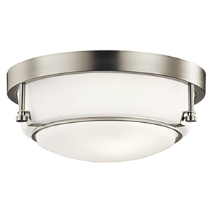 Belmont Brushed Nickel 13-Inch Two-Light Flush Mount