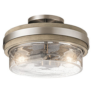 Grand Bank Classic Pewter 12-Inch Two-Light Semi-Flush Mount