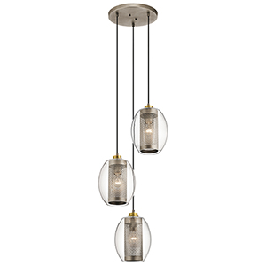 Asher Antique Pewter 17-Inch Three-Light Pendant