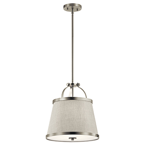 Amarena Brushed Nickel 14-Inch Two-Light Pendant and Semi-Flush Mount