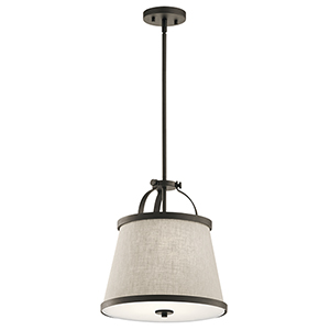Amarena Olde Bronze 14-Inch Two-Light Pendant and Semi-Flush Mount