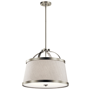 Amarena Brushed Nickel 20-Inch Three-Light Pendant and Semi-Flush Mount