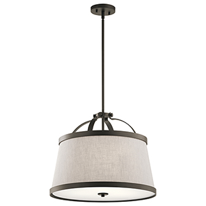 Amarena Olde Bronze 20-Inch Three-Light Pendant and Semi-Flush Mount