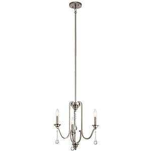 Karlee Classic Pewter 18-Inch Three-Light Mini Chandelier